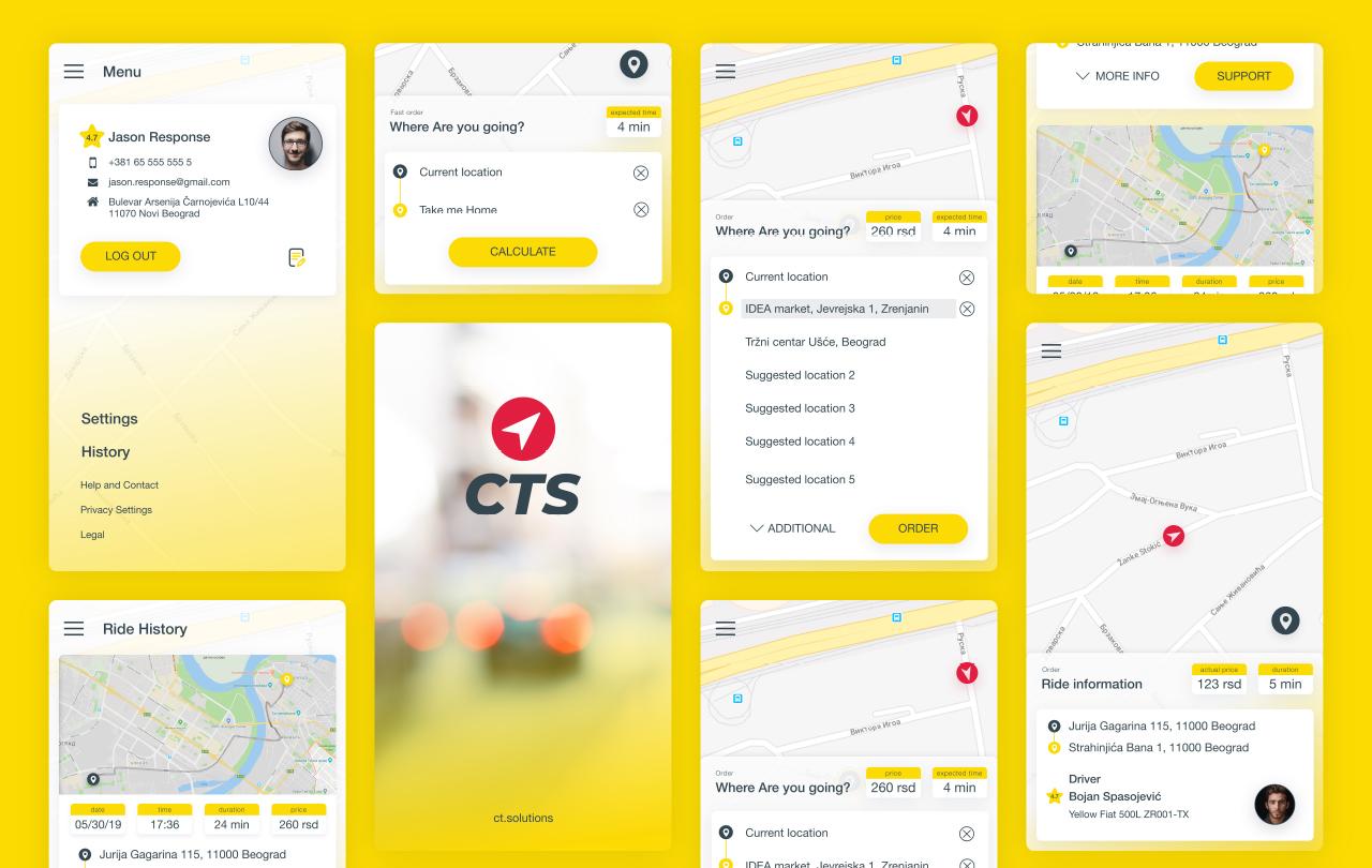 CTS Taxi user app portfolio 1
